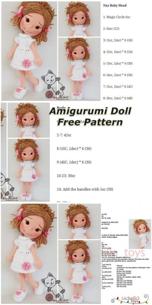 Amigurumi Doll Ela Free Crochet Pattern ~ Amigurumi #crochetdolls