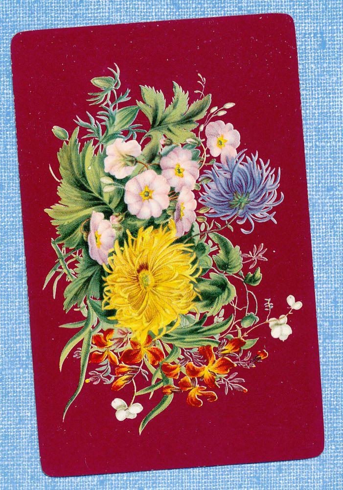 floral flowers maroon back playing card single swap JOKER - 1 card