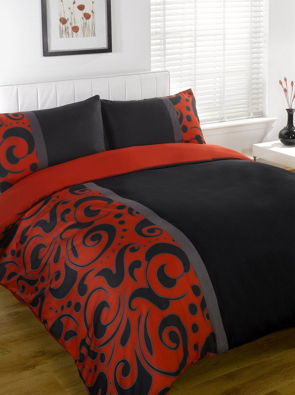 SUPER KING SIZE BLACK RED & GREY DUVET COVER BED SET