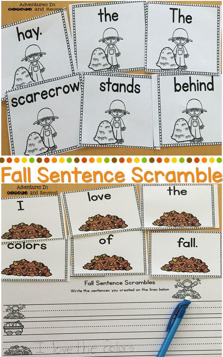 Fall Sentence Scrambles   Reading Adventures   Writing