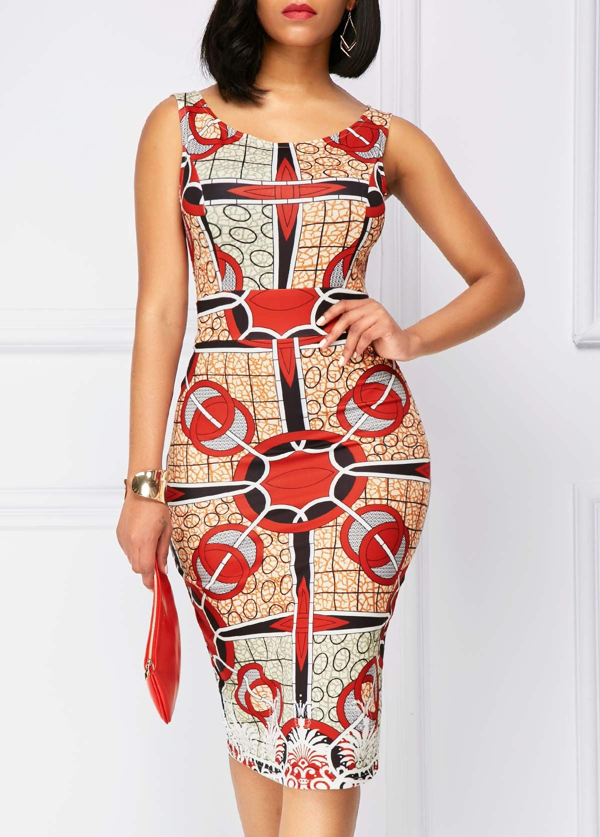 Printed zipper back sleeveless sheath dress rosewe usd