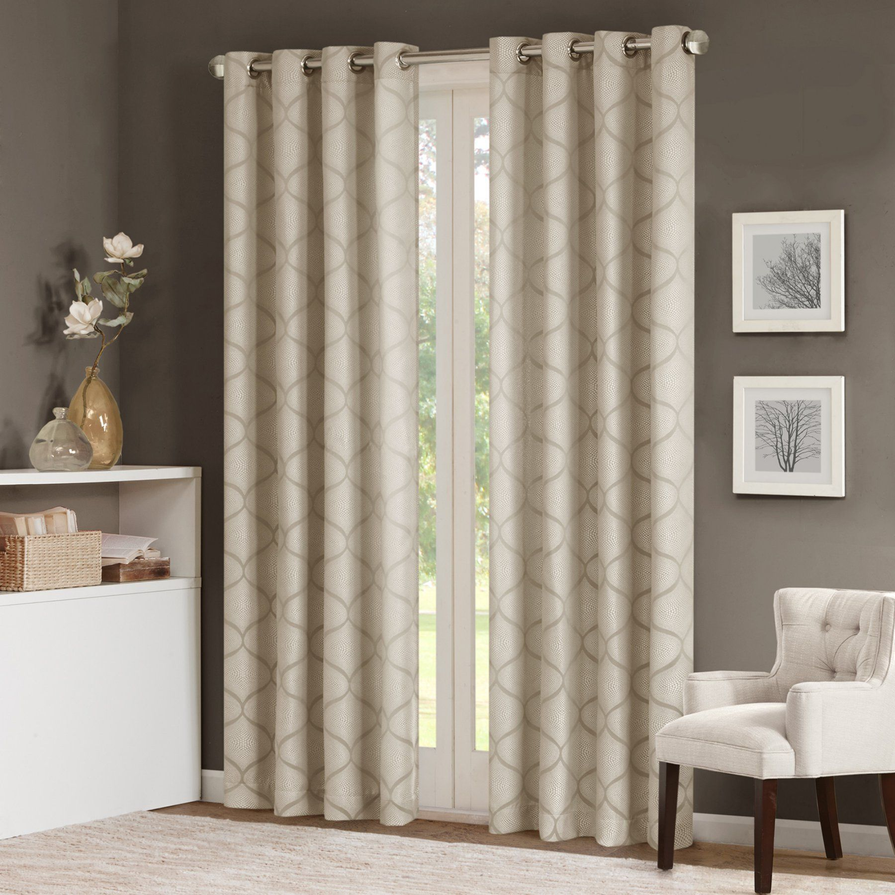 Madison Park Adele Sheer Ogee Jacquard Curtain Panel  Mp40 2091