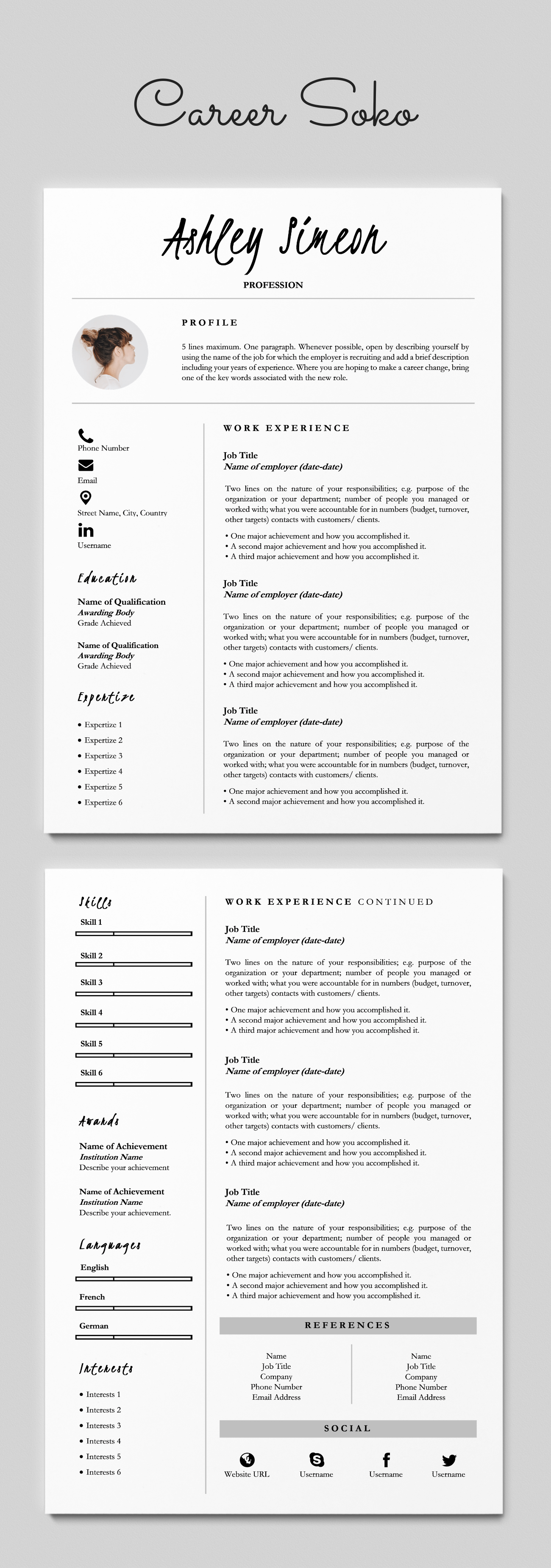 Minimalist Resume 2 Page Resume Template Cv Template Etsy Resume Design Template Minimalist Resume Resume Template Word