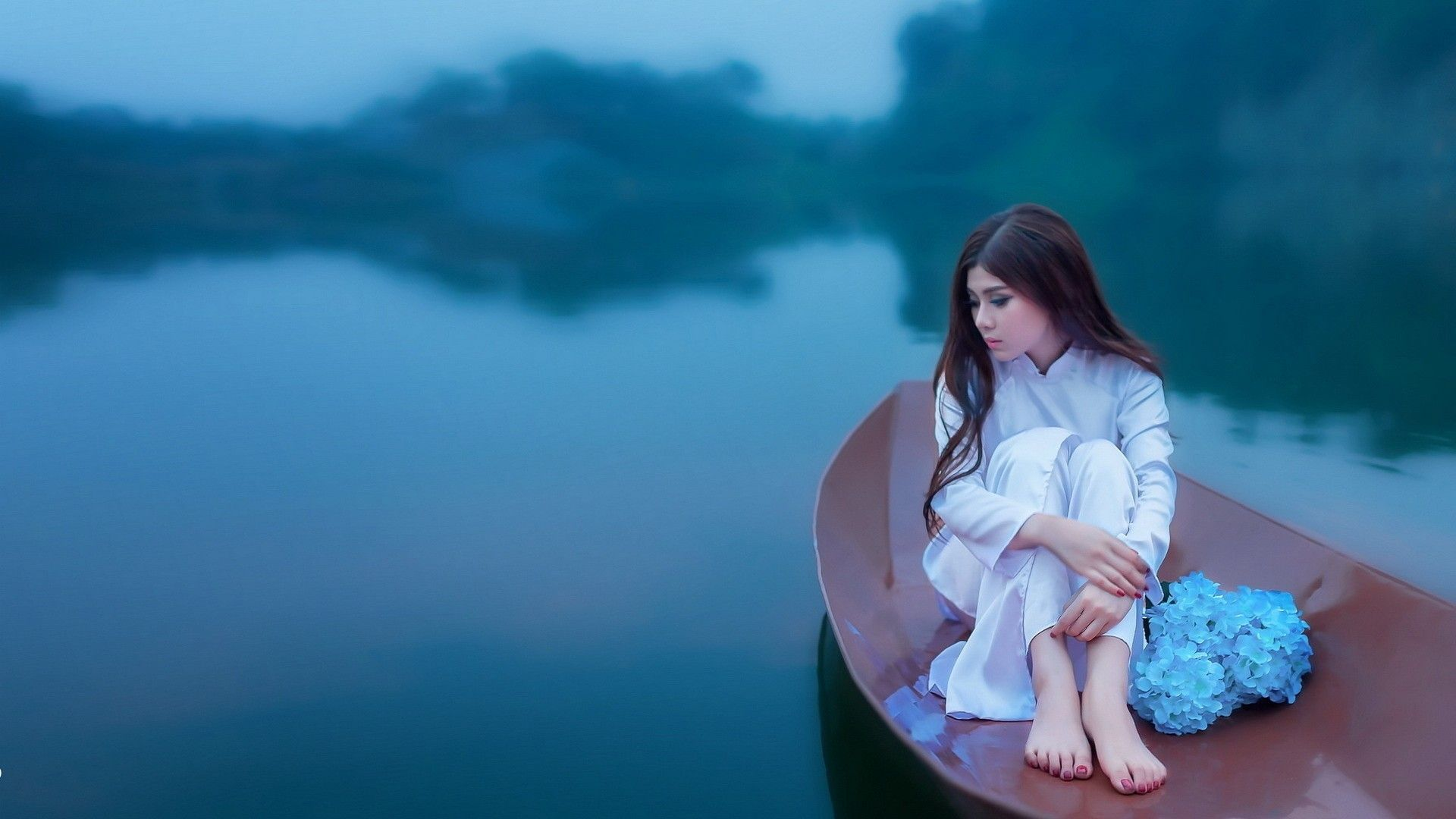 Japanese Girl Boat Lake 1920x1080 1080p Wallpaper Hd