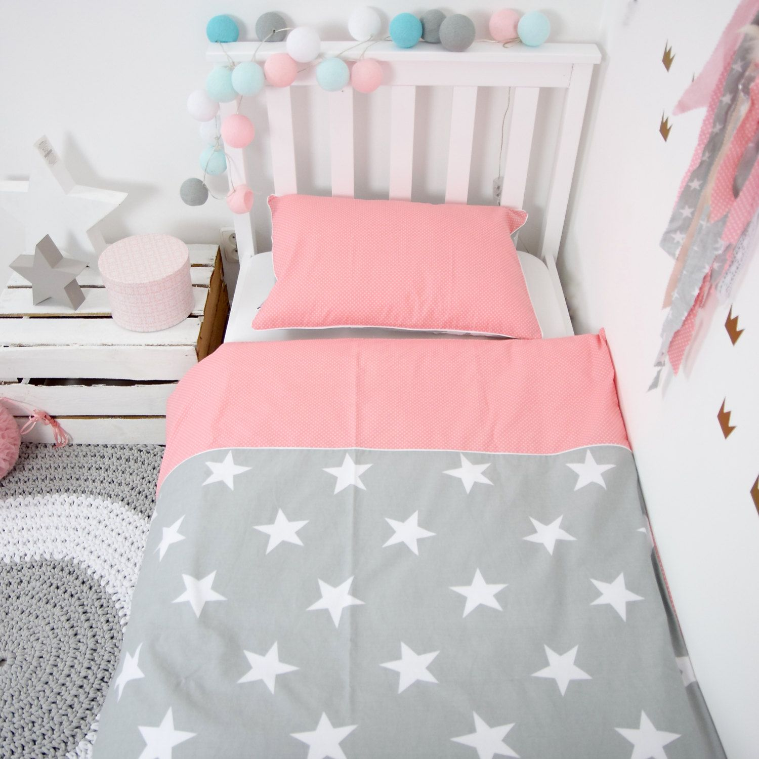 Baby Bedding Crib Bedding Set Nursery Bedding Toddler Bedding Kids Bed Set Double Sided Reversible Coral Pink And Grey Kids Bedding Sets Crib Bedding Baby Bed