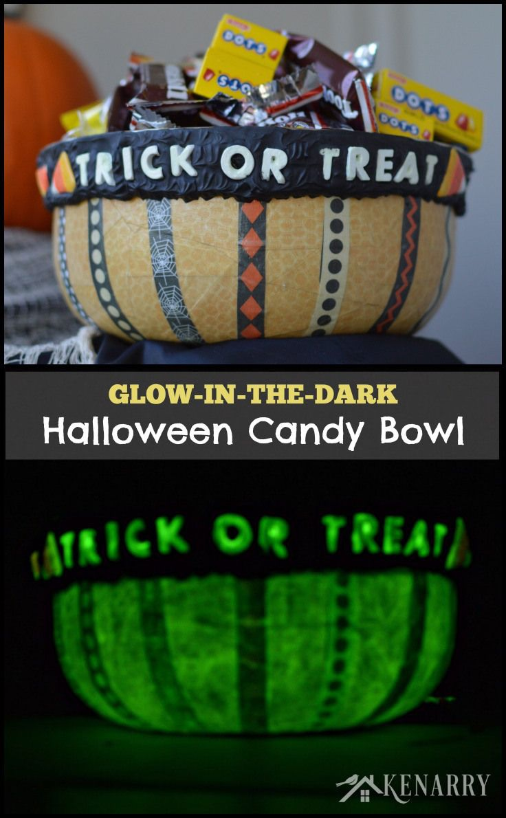 Halloween Candy Bowl A Glow-in-the-Dark Craft Pinterest Candy - glow in the dark halloween decorations