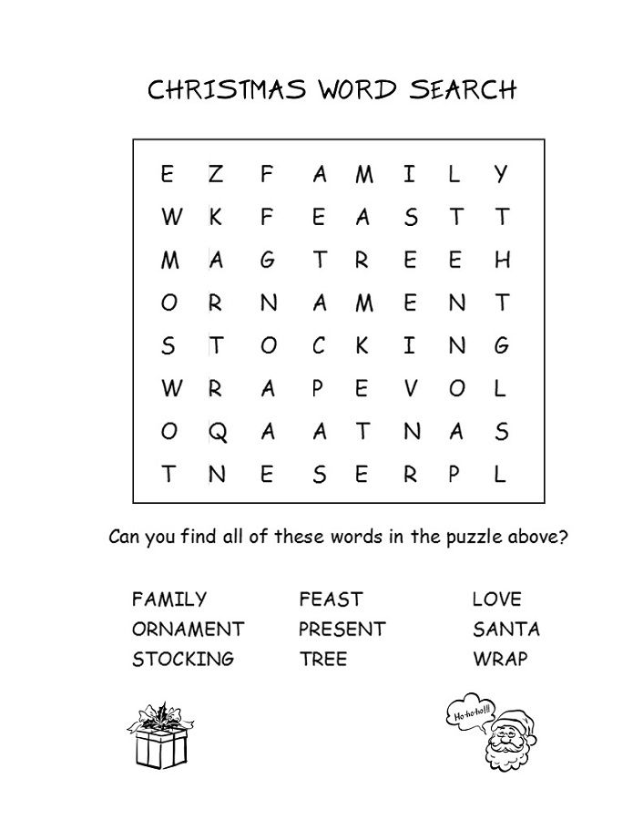 Printable Activity Sheets Christmas Word Search With Images