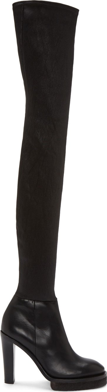 Acne Studios - Black Leather Thigh-High Revery Boots