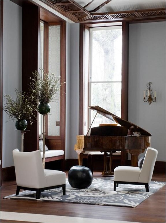 Do you sit at the piano with your back to the room or for Piano for small space