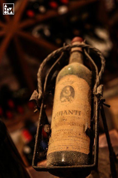 1951 Chianti in the wine cellar at Da Delfina. Artimino, Italy.