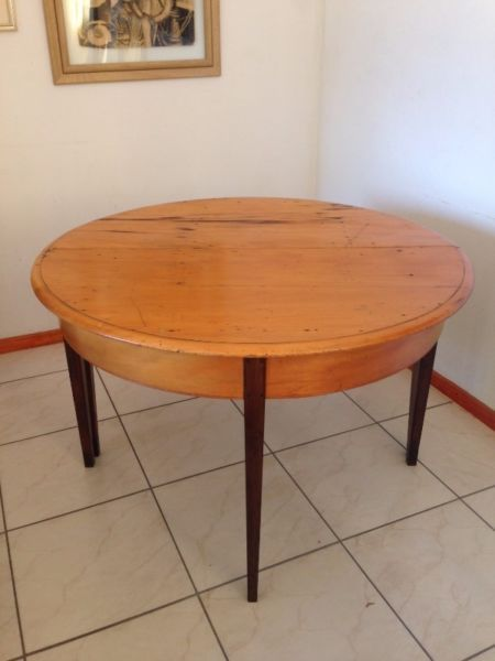 ANTIQUE YELLOW WOOD AND STINK HALF MOON TABLES