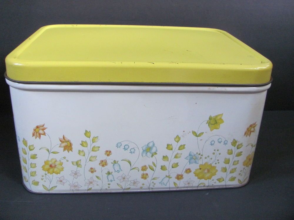 Vintage Tin Metal Bread Box Container With Vented Back Flowers Yellow Blue Bread Boxes Vintage Bread Boxes Retro Pink Kitchens