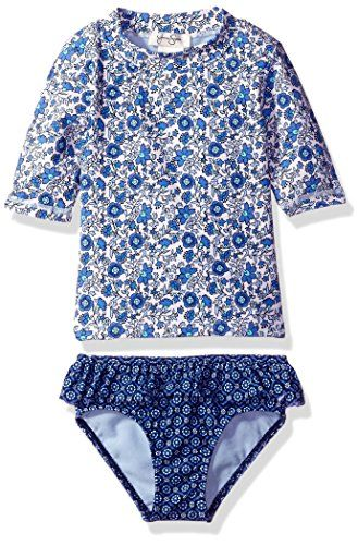 5026e7f6ec Jessica Simpson Girls' Ditsy Floral Short Sleeve Rash Guard ...