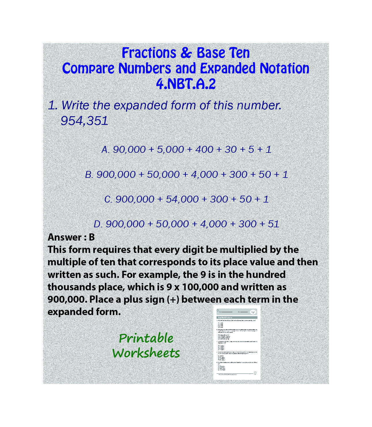 Compare Numbers And Expanded Notation Printable Worksheet