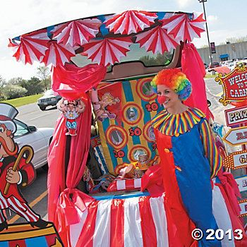 Carnival Trunk or Treat Car Decorations  Everyone loves a carnival, and trunk-or-treaters are no exception! Follow these steps to turn your trunk into a big top attraction that's fun and friendly for kids of all ages!
