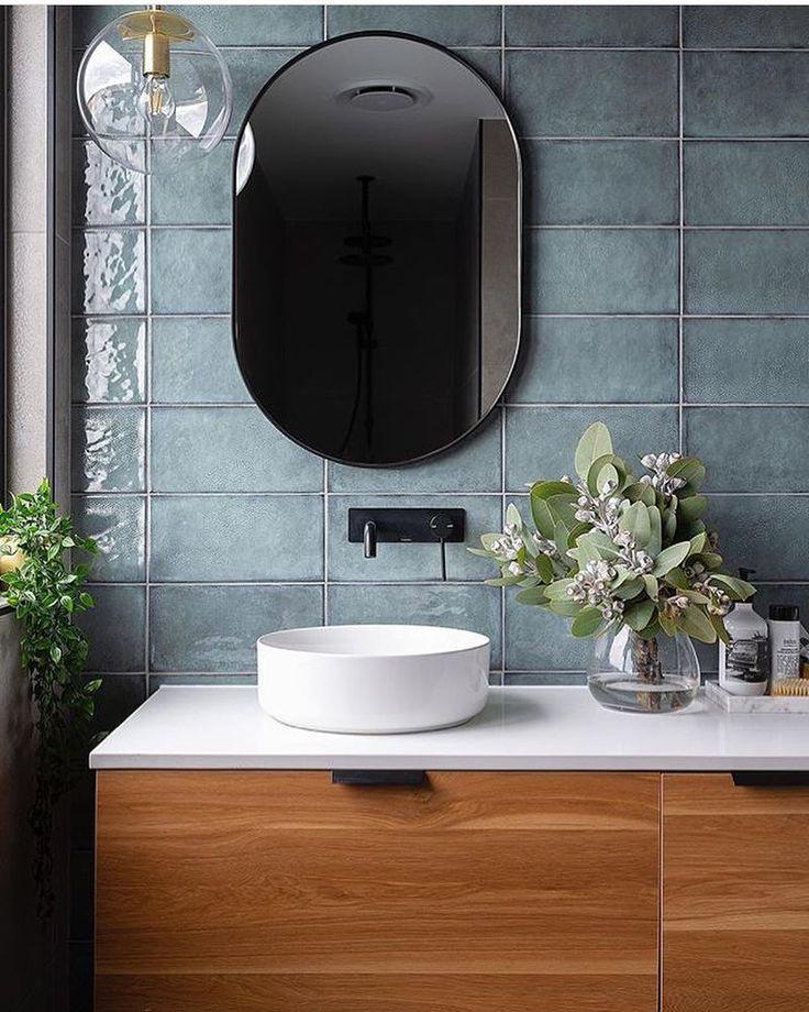 Matte Black Wall Basin Mixer Set On Square Blackplate White Round Above Counter Vessel Basin On Timber Vanity W Bathroom Trends Bathroom Plans Bathroom Design