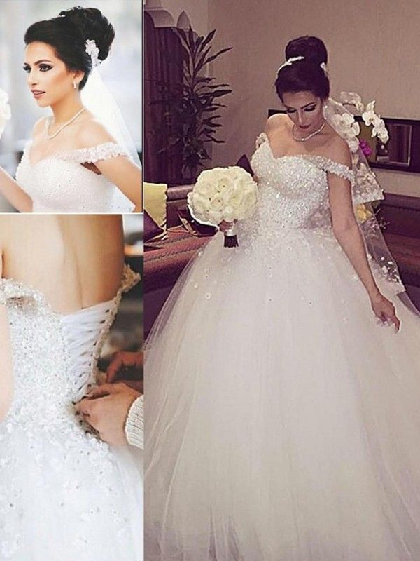 71cd3b95f34f7 Ball Gown Off-the-Shoulder Sleeveless Lace Court Train Tulle Wedding Dresses