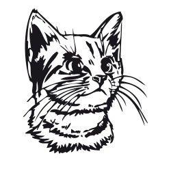 Katzenkopf Katzenkopf Katzen Silhouette Textildruck