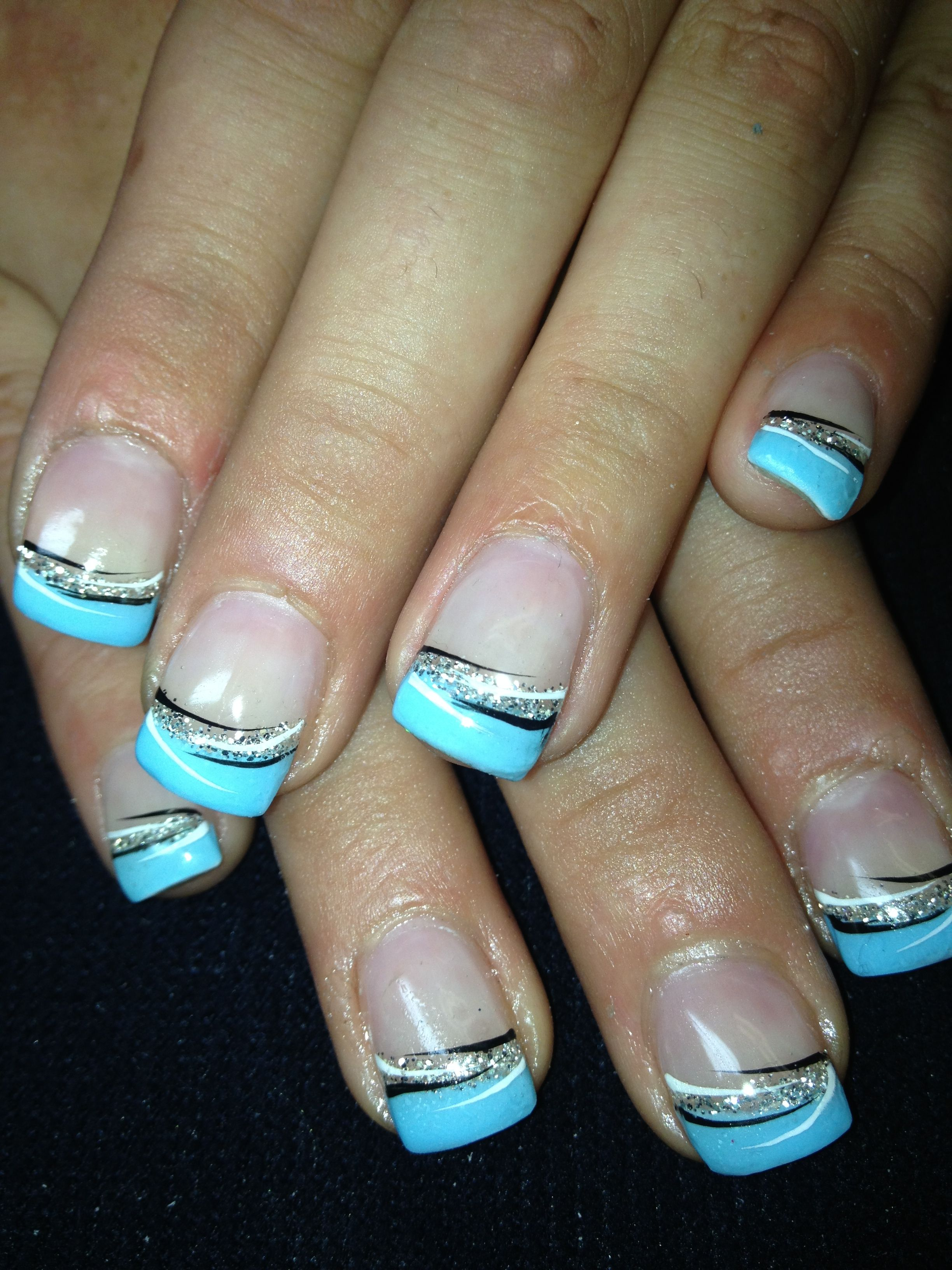 French Tip Nails: I Want These But Tips Silver, And The Silver Teal..