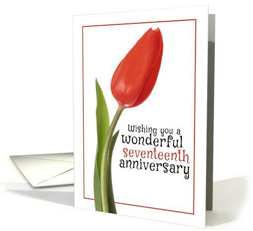 Happy 17th Anniversary Beautiful Red Tulip Card