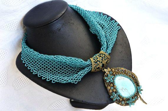 Turchese bronzo istruzione perline sciarpa di BeadsGemsFlowers