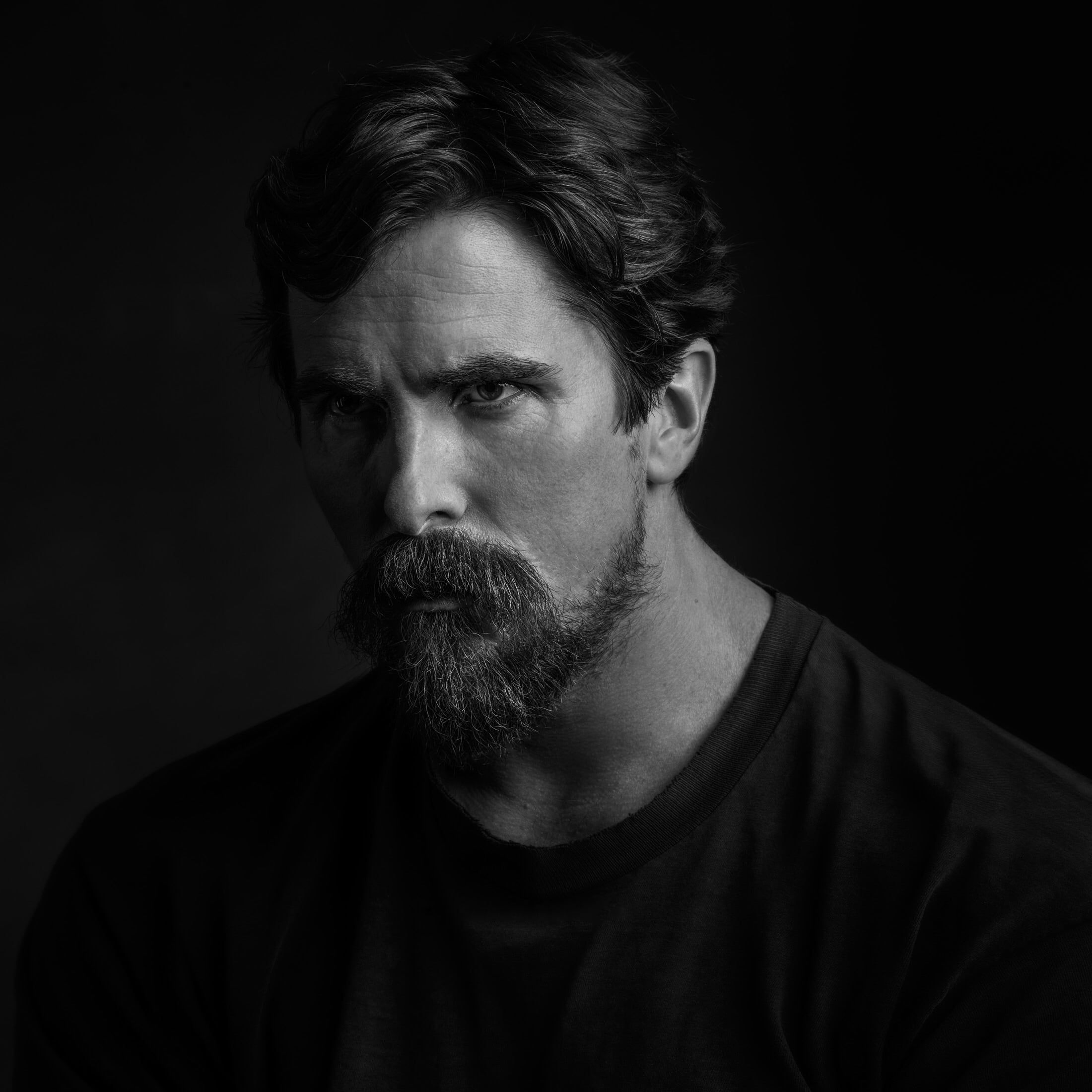 Crew Neck Top Photo Portrait T Shirt Photographer Actor Black And White Beard Black Background Journal New Y In 2020 Christian Bale Portrait Celebrity Portraits