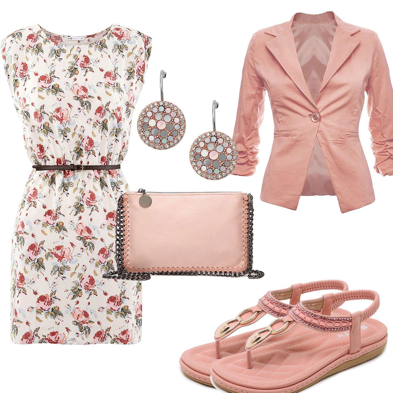 Sommer Damenoutfit Mit Altrosa Blazer Tasche Und Sandalen Graue Outfits Outfit Und Mode