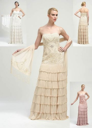 Antique Champagne Chiffon Embroidered Sweetheart Strapless Long ...