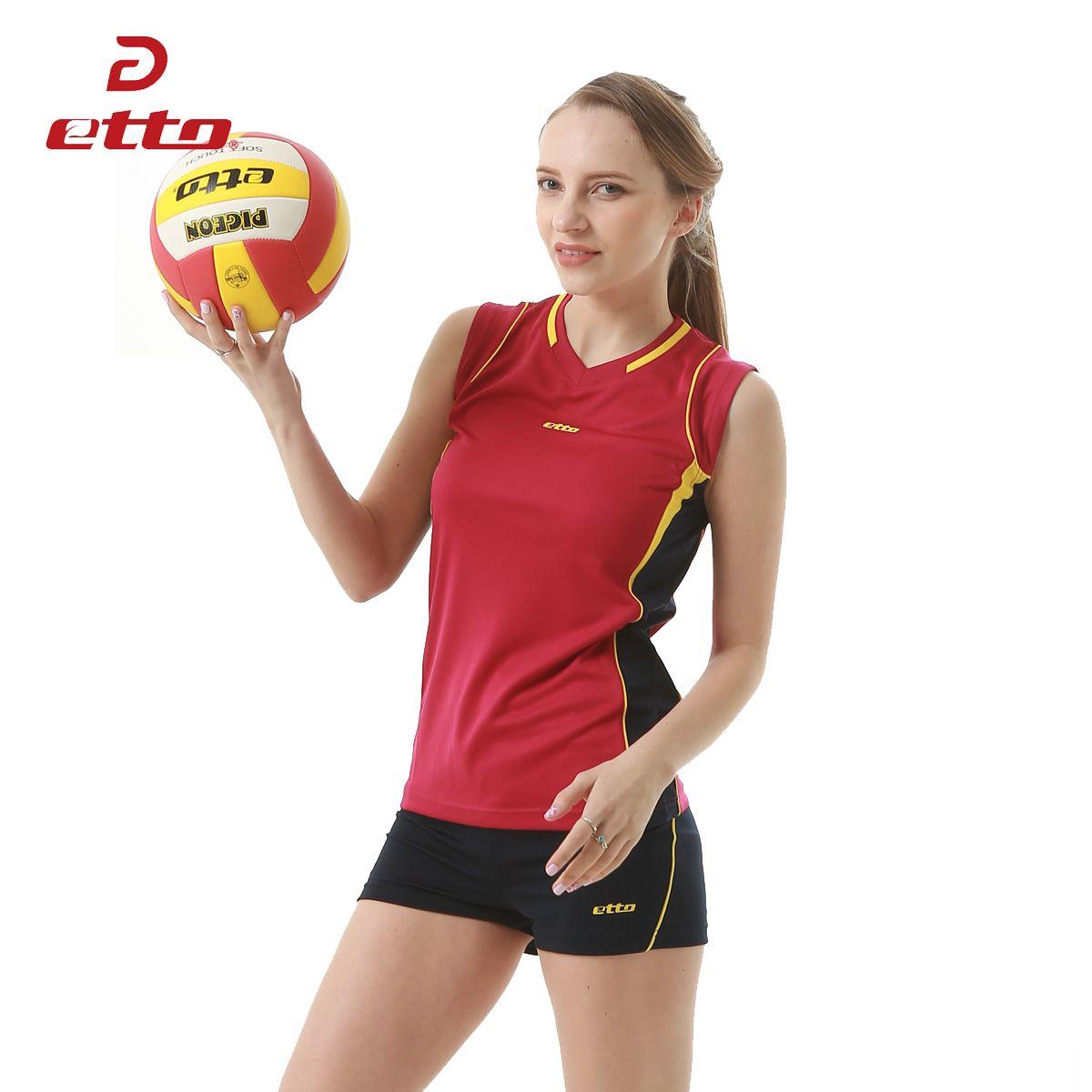 Etto 2016 17 New Professional Women Volleyball Jerseys Uniforms Sportwear Suit Female Volleyball Sleeveless Training Women Volleyball Athletic Tank Tops Women