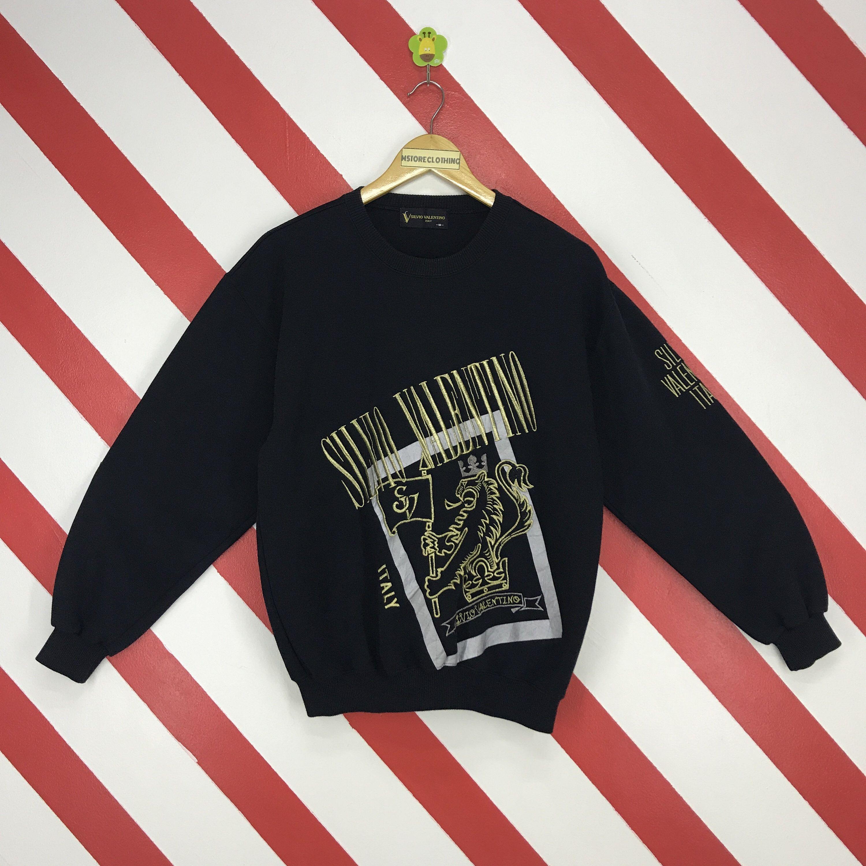 Vintage 90s Silvio Valentino Sweatshirt Crewneck Silvio Valentino Italy Pullover Valentino Jeans Jumper Embroidery Logo Black Size Medium