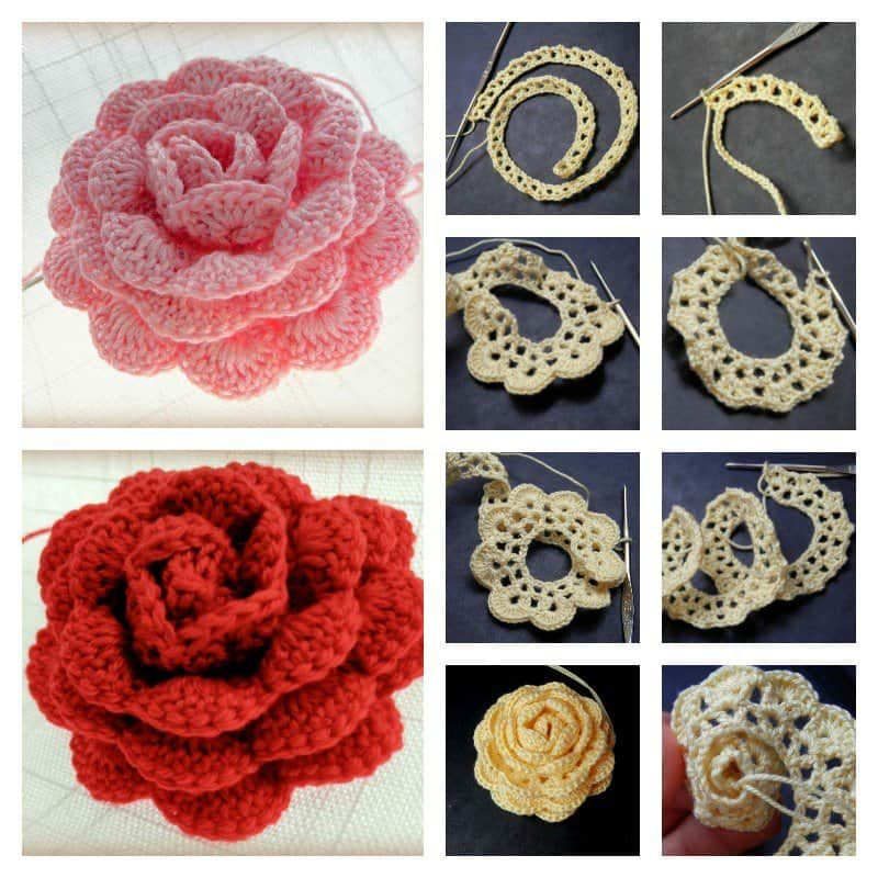 3D Crochet Roses Video Tutorial | Crochet Emblishments | Pinterest ...