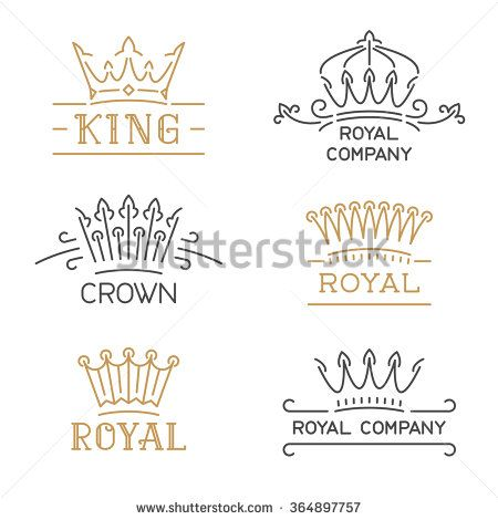 Crown logo set luxury crown in trendy line style vector crown logo set luxury crown in trendy line style vector illustration for hotel restaurant boutique invitation jewellery etc stopboris Images