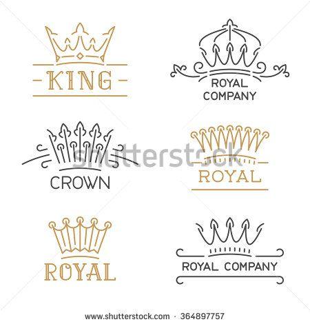 Crown logo set Luxury crown in trendy line style Vector - best of luxury invitation vector