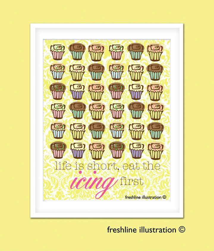 Freshlne: Kitchen Wall Decor - Cupcake Kitchen Art Print 8x10 in ...