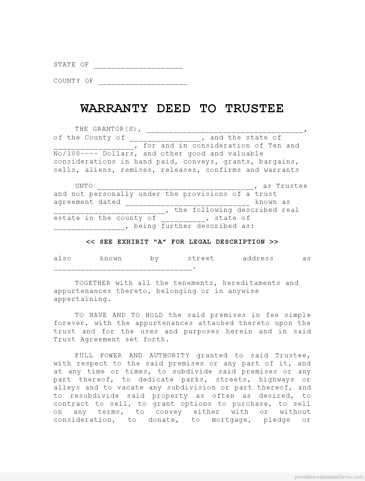 Get High Quality Printable Warranty Deed To TrusteeLease Options