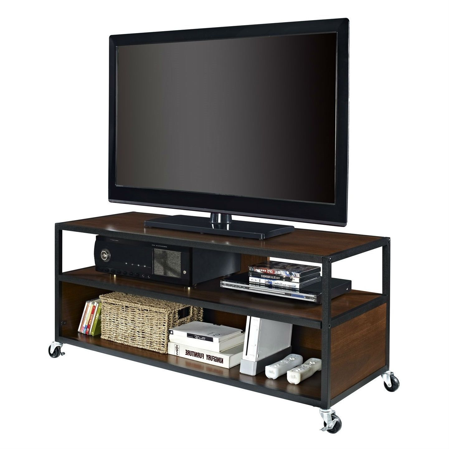 Modern Mobile Tv Stand Entertainment Center Cart With 4 Casters