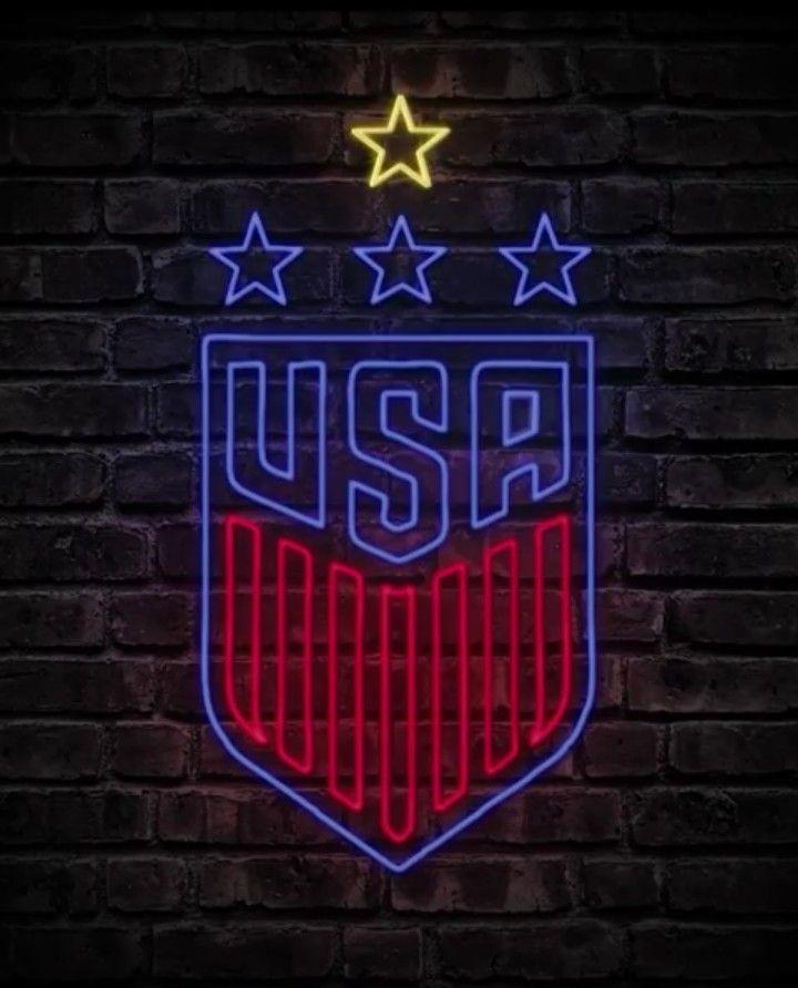 USA WNT Neon Lights logo 4 stars   Uswnt, Usa soccer women ...