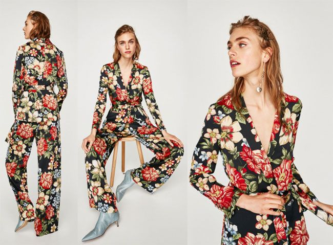 4260e9e9377 Tips to Wear On-trend Floral Prints Outfits for Spring-Summer 2018 - ZARA Floral  print blazer Printed palazzo trousers