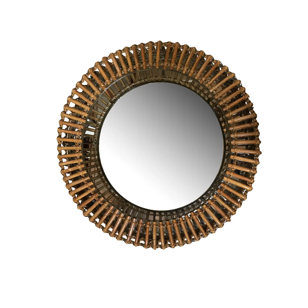 Vintage Umbra Rattan Wall Mirror by Matt Carr | Chairish