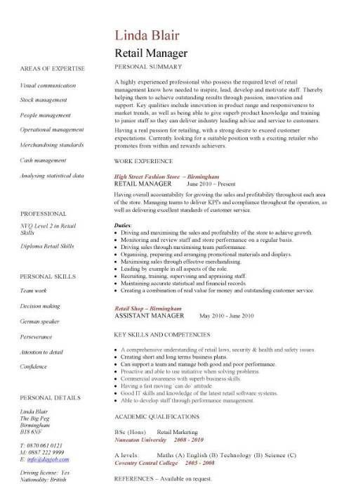 store manager resume sample objective assistant format accounts retail template sales environment shop work