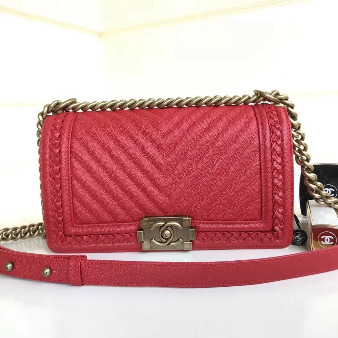 d1f7a1e51bae Chanel Chevron Calfskin Boy Braided Old Medium Flap Bag A67086 Red 2018