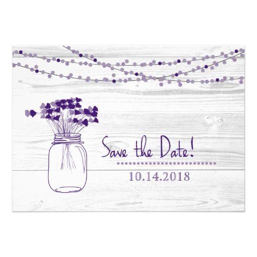 Purple Mason Jar and Lights Photo Save The Date