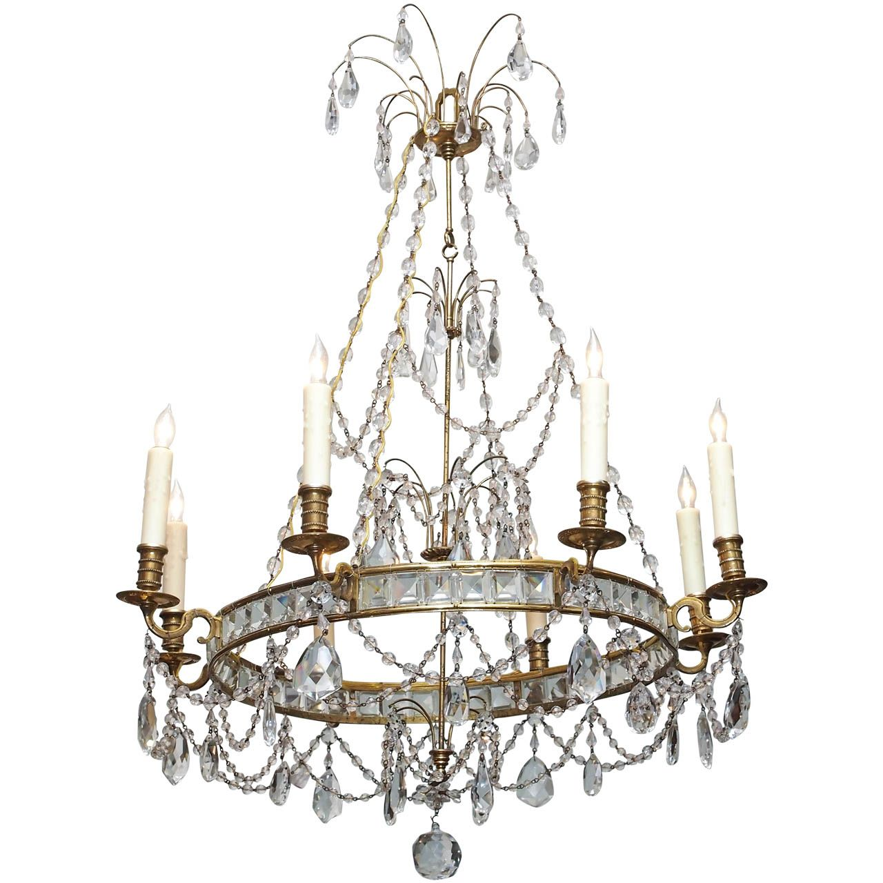 Swedish bronze and crystal chandelier chandeliers pendant swedish bronze and crystal chandelier arubaitofo Image collections
