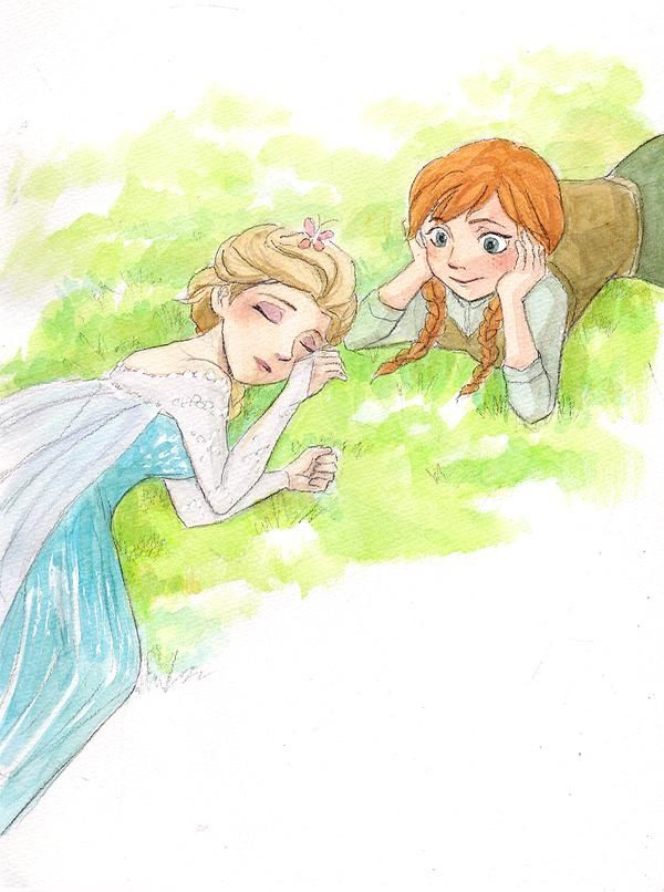 Elsa with bfly in her hair and Anna Please don't go bfly...please