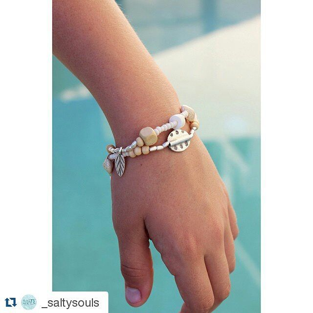"""#Repost @_saltysouls  """"Crema Cove""""  wrap bracelet  features hill tribe silver  $32"""