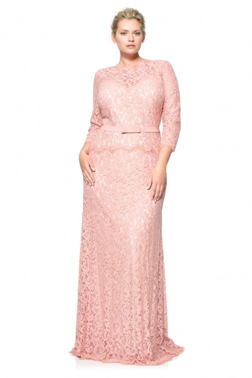 Lace Boatneck ¾ Sleeve Gown with Grosgrain Ribbon Belt - PLUS SIZE ...