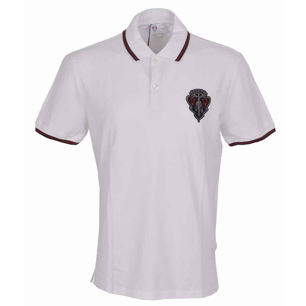 09ec9cc154 New Gucci Men's 345394 Slim Fit Hysteria Crest Web Trim Polo Shirt ...