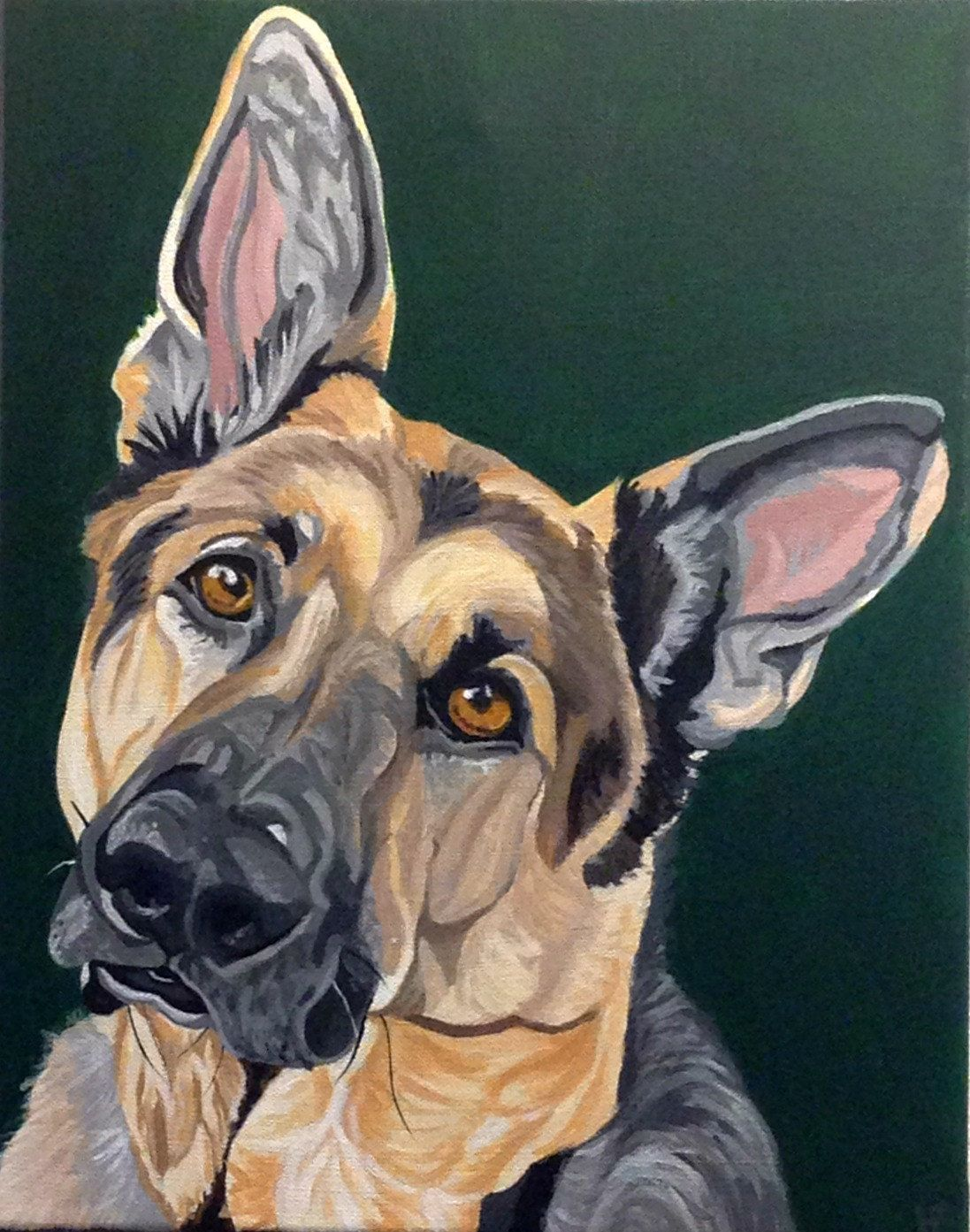 1bd9ef8cd329 Hand Painted Custom Pet Portrait in Acrylics on Canvas. *This is an example*