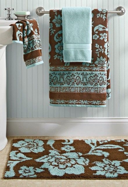 Bhg thick plush towels in aquifer costa brown are such for Blue brown bathroom decor