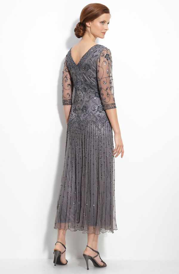 Beaded chiffon overlay dress with sheer sleeves: understated ...